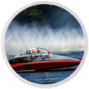 Thunder At The Lake Round Beach Towel