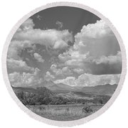 Thunderstorm Clouds Boiling Over The Colorado Rocky Mountains Bw Round Beach Towel