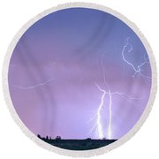 Thunderstorm On The Colorado Plains Panorama Round Beach Towel