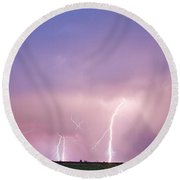 Thunderstorm On The Plains Round Beach Towel
