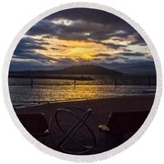 Thunderstorms At Sunrise Round Beach Towel
