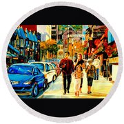 Thursdays Pub On Crescent Street Montreal City Scene Round Beach Towel