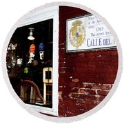 The Window On Calle Del Maine Round Beach Towel