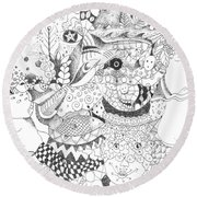 Tick Tack Toe With The Universe Round Beach Towel