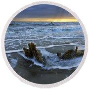Tides At Driftwood Beach Round Beach Towel