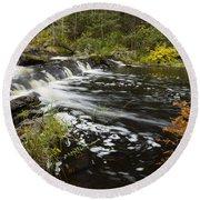 Tidga Creek Falls 1 Round Beach Towel
