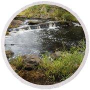 Tidga Creek Falls 2 Round Beach Towel