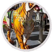 Tiger Carousel Ride Round Beach Towel