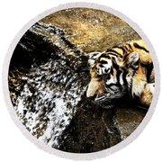 Tiger Falls Round Beach Towel