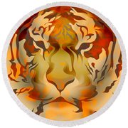 Tiger Illustration Round Beach Towel