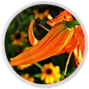 Tiger Lily Bud And Bloom Round Beach Towel