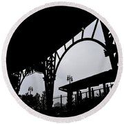Tiger Stadium Silhouette Round Beach Towel