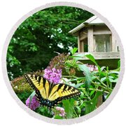 Tiger Swallowtail By The Bird Feeder  Round Beach Towel
