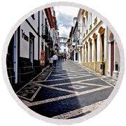 Tiled Street Of Ponta Delgada Round Beach Towel