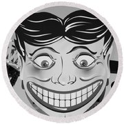 Tillie The Clown Of Coney Island In Black And White Round Beach Towel