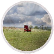Time Alone Round Beach Towel by Betsy Knapp