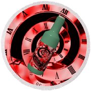 Time In A Bottle Red Round Beach Towel