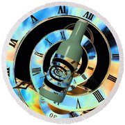 Time In A Bottle Round Beach Towel