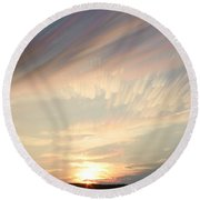Time-lapse Clouds At Sunset Round Beach Towel