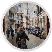 Time Warp In Malaga Round Beach Towel