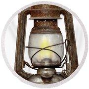 Time Worn Kerosene Lamp Round Beach Towel