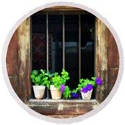 Time Worn Window With Bright Flowers Round Beach Towel