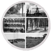 Timeless Brabant Collage - Black And White Round Beach Towel