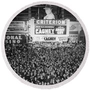 Times Square Election Crowds Round Beach Towel