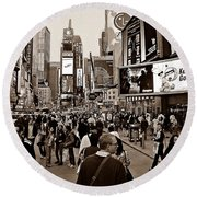 Times Square New York S Round Beach Towel