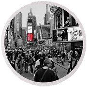 Times Square New York Toc Round Beach Towel