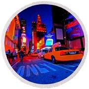 Times Square Nitelife Round Beach Towel