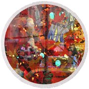 Times Square Reflections Round Beach Towel