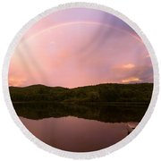 Timing Is Divine Rainbow Over Vermont Mountains Round Beach Towel