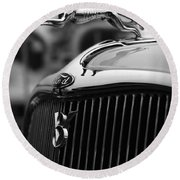 Timmis-ford V8 Greyhound Hood Ornament Round Beach Towel