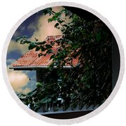 Tin Roof And Vines Round Beach Towel