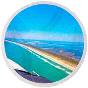 Tiny Airplane Big View II Round Beach Towel