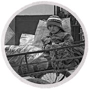 Tiny Biker 2 Monochrome Round Beach Towel