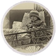 Tiny Biker 2 Sepia Round Beach Towel