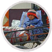 Tiny Biker 2 Round Beach Towel