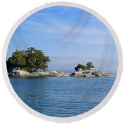 Tiny Island Off Vancouver Island Round Beach Towel