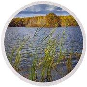 Tiny Island On Hall Lake No 0086 Round Beach Towel