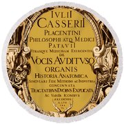 Title Page, Giulio Casserios Anatomy Round Beach Towel by Science Source