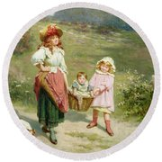 To Market To Buy A Fat Pig Round Beach Towel by Edwin Thomas Roberts