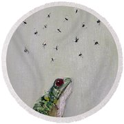 To Save Their Small Lives From Surrounding Death Round Beach Towel by Fabrizio Cassetta
