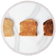 Toasting Bread Round Beach Towel