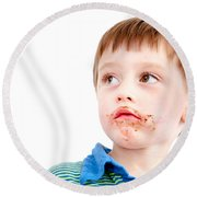 Toddler Eating Chocolate Round Beach Towel by Tom Gowanlock