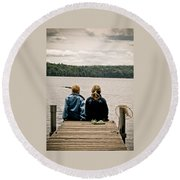 Toes In The Water Round Beach Towel