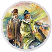 Together Old In Morocco 02 Round Beach Towel