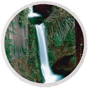 Toketee Falls Round Beach Towel