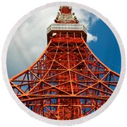 Tokyo Tower Face Cloudy Sky Round Beach Towel